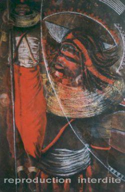 Peinture ethnique représentant 2 guerriers samburu dont l'un saute.