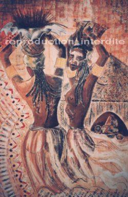 Tableau ethnique représentant 2 femmes de dos dont l'une se retourne vers le spectateur en souriant.